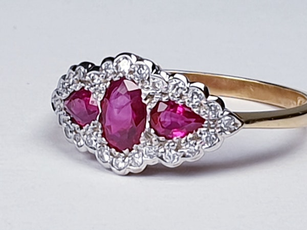 Ruby and Diamond Three Stone Ring  DBGEMS - image 5