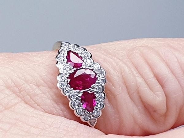 Ruby and Diamond Three Stone Ring  DBGEMS - image 6