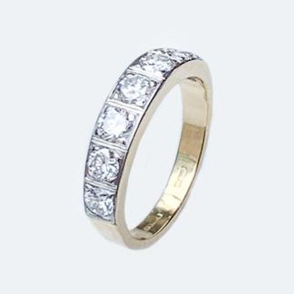 A 1960s Seven Stone Diamond Gold Ring - image 2