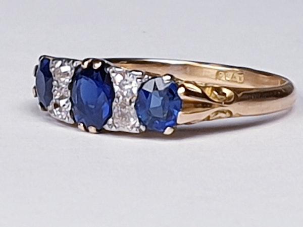 Antique three stone sapphire ring 4271   DBGEMS - image 6