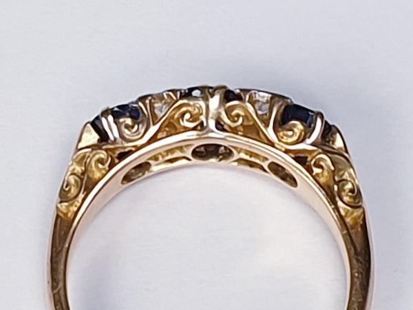 Antique three stone sapphire ring 4271   DBGEMS - image 3