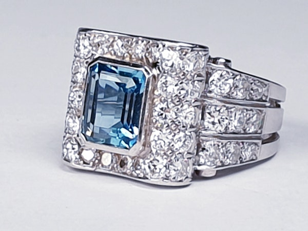 Fabulous Aquamarine and Diamond Platinum Ring  DBGEMS - image 2