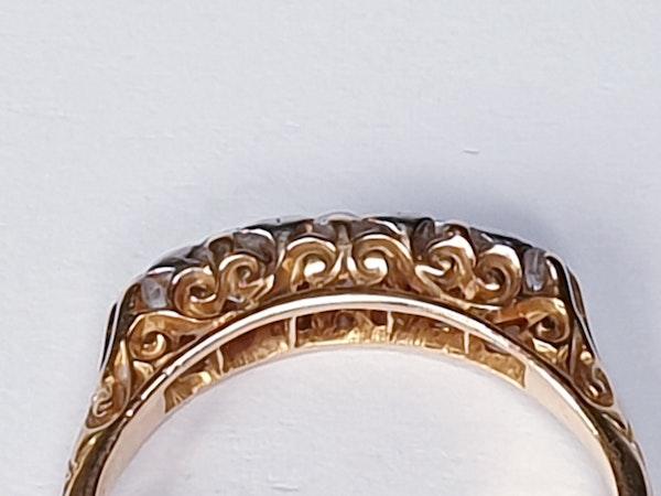 Antique Five Stone Carved Half Hoop Engagement Ring  DBGEMS - image 3