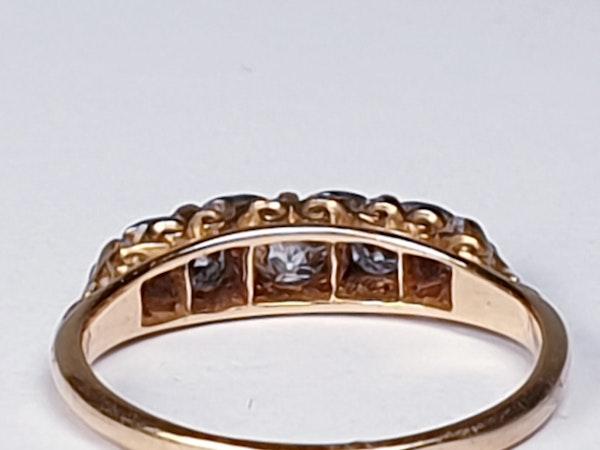 Antique Five Stone Carved Half Hoop Engagement Ring  DBGEMS - image 4