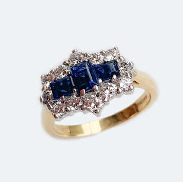 A 1950s Geometric Sapphire and Diamond Ring - image 1