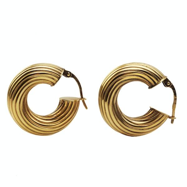 A 1950s Pair of Italian Gold Hoop Earrings - image 2