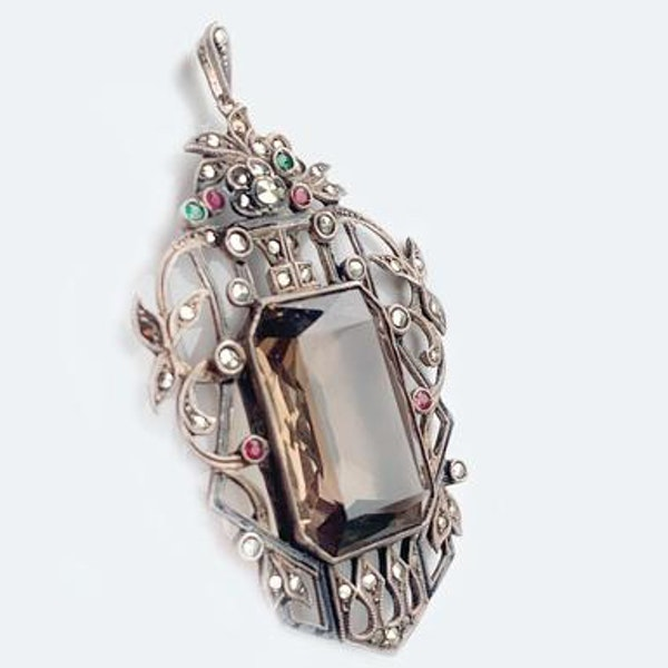 A Marcasite, Smoky Quartz, Paste and Silver Pendant - image 2