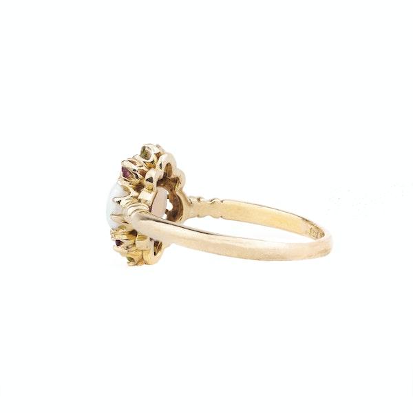 An Opal Peridot Diamond and Ruby Ring - image 2