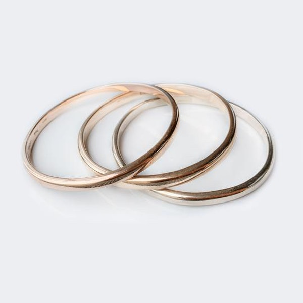 A Modern trio of Rose, Yellow, and White Gold Bangles - image 2