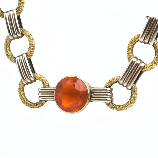 A German 1940s Gold Fire Opal Necklace - image 2