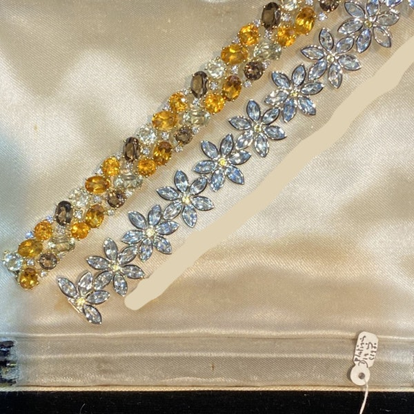 1970's 18ct Yellow Gold Citrine, Smokey Quartz & Diamond stone set Bracelet, SHAPIRO & Co since1979 - image 5