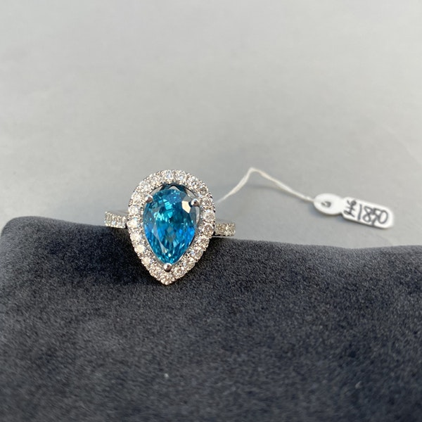 1980's, 14ct White Gold, Blue Zircon and Diamond stone set Ring, SHAPIRO & Co since1979 - image 5