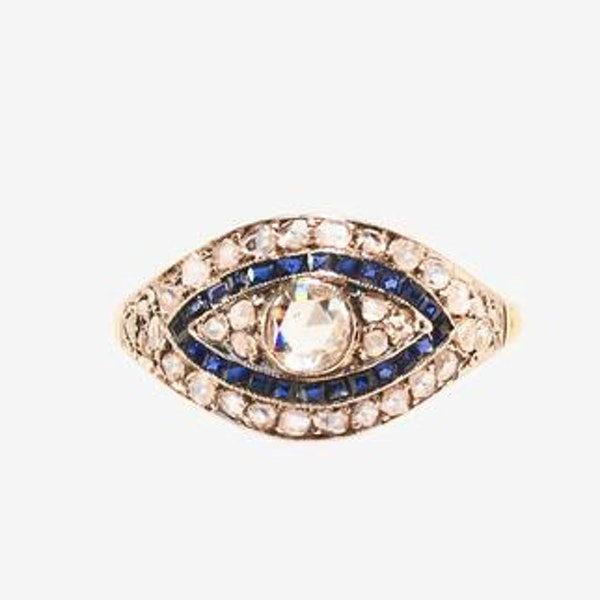 A Diamond and Sapphire Gold Ring - image 1