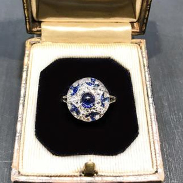 A 1910 Sapphire, Diamond and Platinum bottle nose ring - image 1