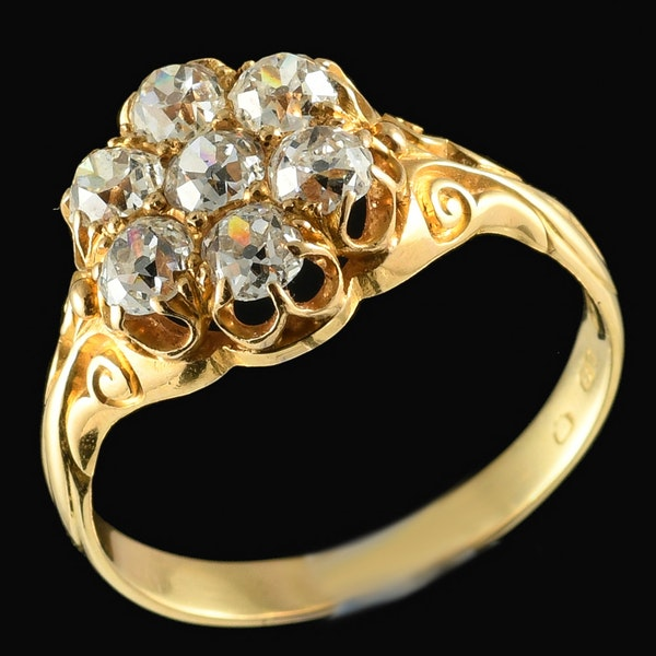 MM5982r Victorian carved diamond cluster ring 1880c - image 1