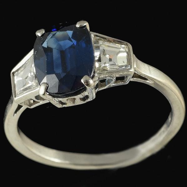 MM6367r Platinum set Art Deco sapphire and square diamond three stone ring - image 1