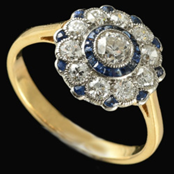 MM6490r Sapphire diamond cluster ring gold platinum set 1920c - image 2