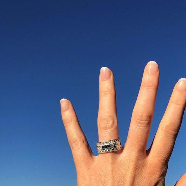 A Diamond Sapphire three row ring - image 2