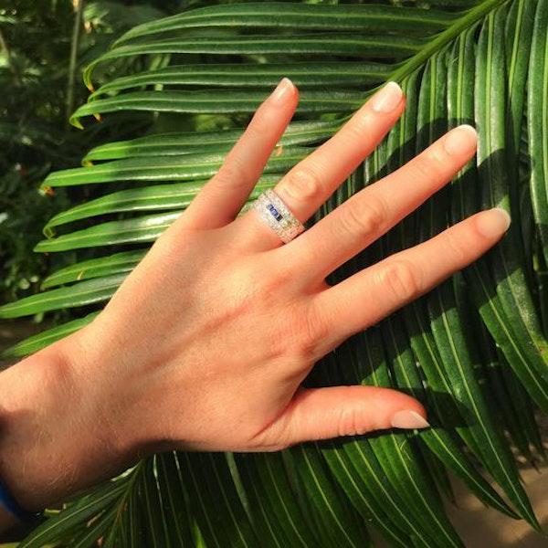 A Diamond Sapphire three row ring - image 1