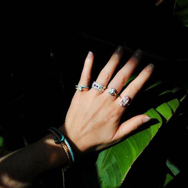A Diamond Sapphire three row ring - image 4