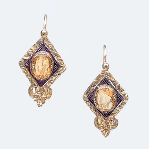 A pair of Citrine and Enamel Drop Earrings - image 2
