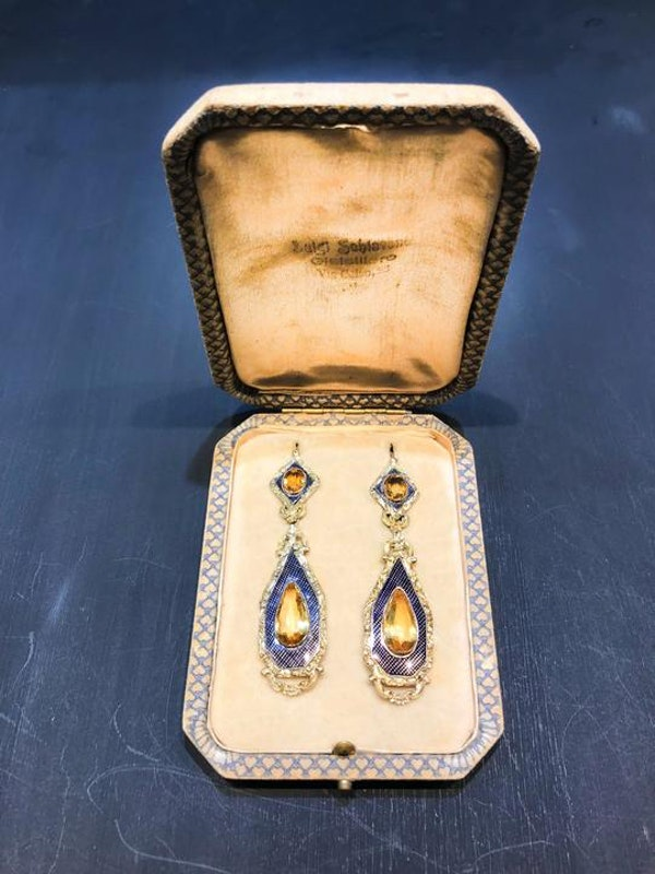 A pair of Citrine and Enamel Drop Earrings - image 4