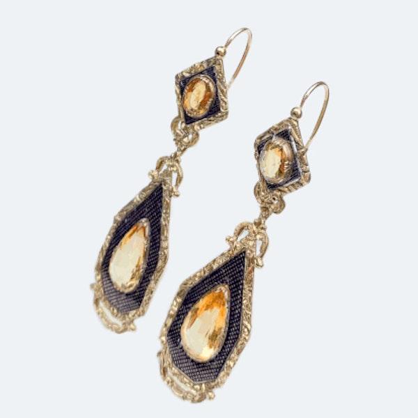 A pair of Citrine and Enamel Drop Earrings - image 3