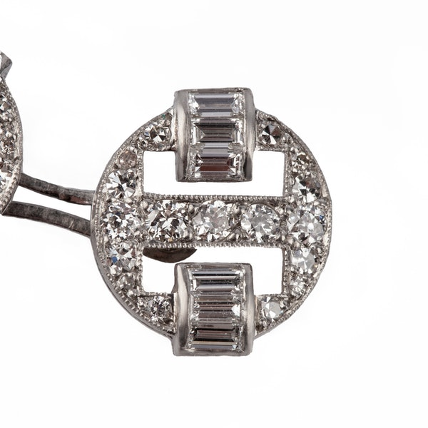 Art Deco Platinum Cufflinks & Studs with Old Brilliant and Baguette Cut Diamonds, English circa 1920. - image 2