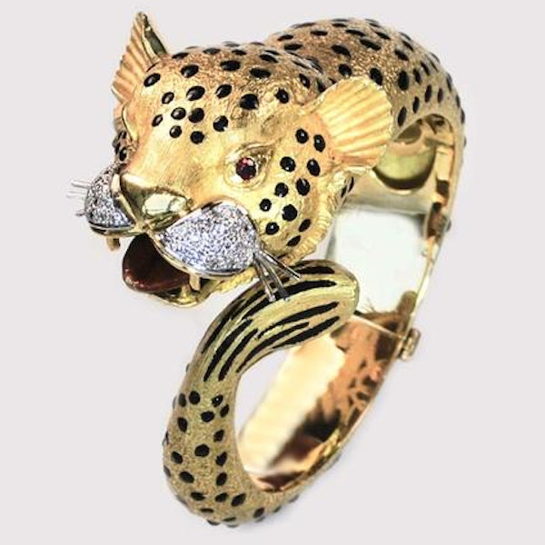 A 1970s Jaguar Bangle with Ruby Eyes and Diamond Whiskers - image 2