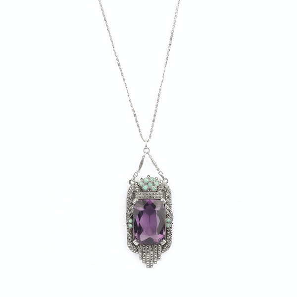 An Amethyst Marcasite Amazonite Pendant by Theodor Fahrner - image 1