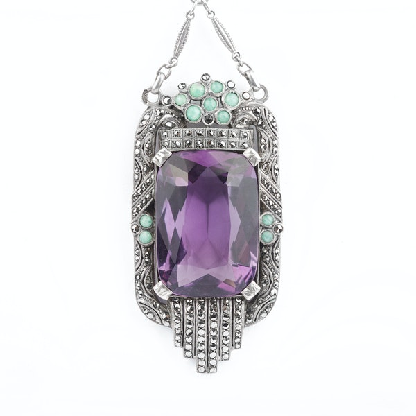 An Amethyst Marcasite Amazonite Pendant by Theodor Fahrner - image 2