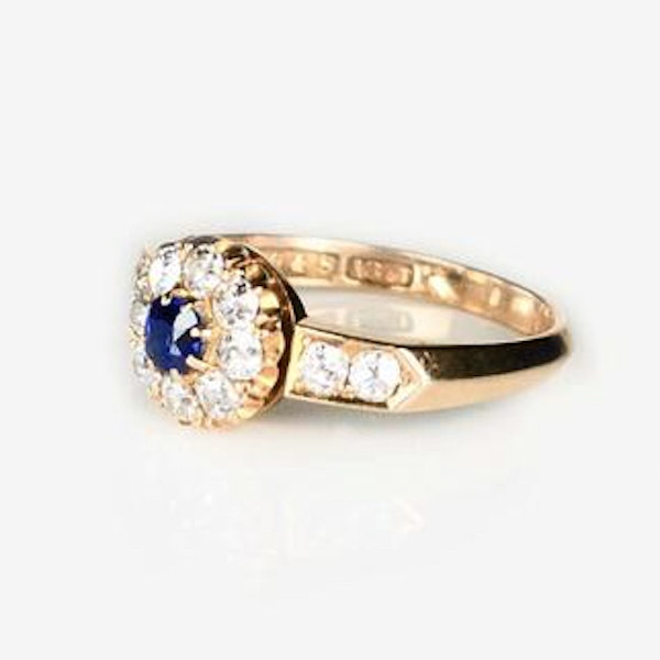 An antique Sapphire and Diamond Cluster Ring - image 1