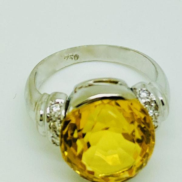 18K white gold Citrine and Diamond Ring - image 4