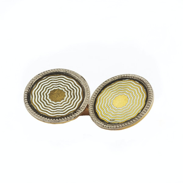 A pair of Gold and Enamel Cufflinks - image 2