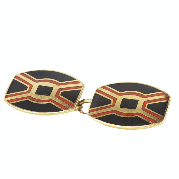 A pair of Art Deco Gold and Enamel Cufflinks - image 2
