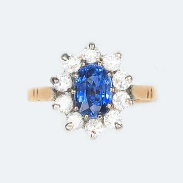A 1950s Sapphire and Diamond Cluster Ring - image 2