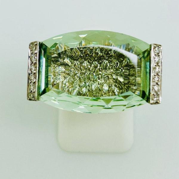 18K white gold Aquamarine and Diamond Ring - image 1