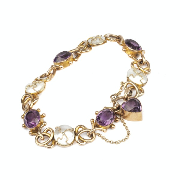 A 1960s Gold Amethyst and Mother of Pearl Bracelet - image 2