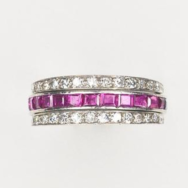 An Art Deco Sapphire Ruby Diamond Flipover Ring - image 1