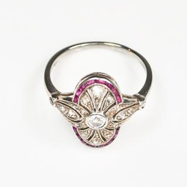 An Art Deco Ruby and Diamond Millegrain Ring - image 2
