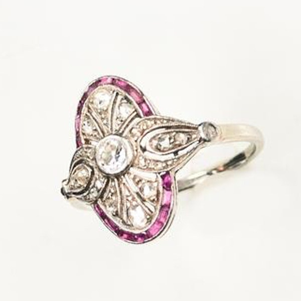 An Art Deco Ruby and Diamond Millegrain Ring - image 3