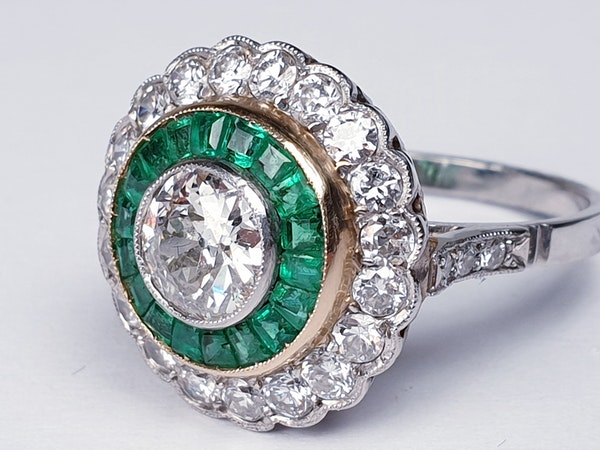 Emerald and Diamond Target Engagement Ring  DBGEMS - image 2