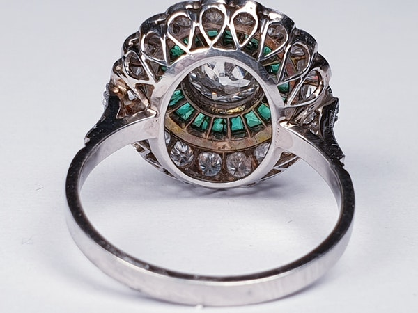 Emerald and Diamond Target Engagement Ring  DBGEMS - image 6