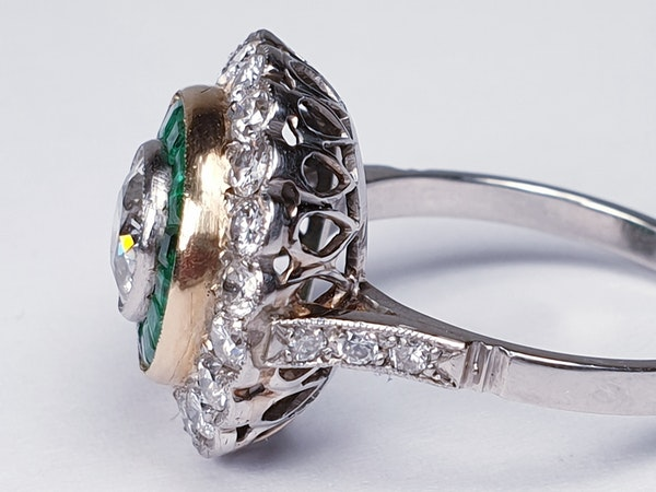 Emerald and Diamond Target Engagement Ring  DBGEMS - image 3