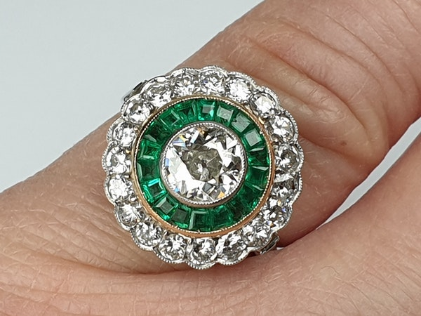 Emerald and Diamond Target Engagement Ring  DBGEMS - image 4