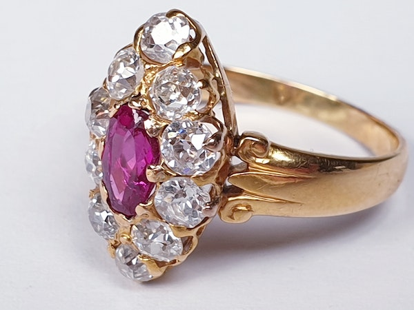 Burmese Ruby and Old Cut Diamond Marquise Shaped Ring  DBGEMS - image 2