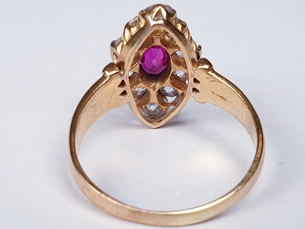 Burmese Ruby and Old Cut Diamond Marquise Shaped Ring  DBGEMS - image 5