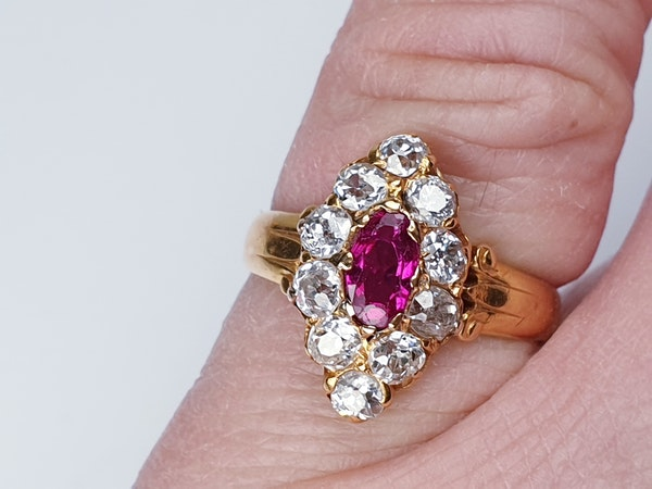 Burmese Ruby and Old Cut Diamond Marquise Shaped Ring  DBGEMS - image 3