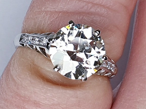2.61ct old European transitional cut diamond engagement ring  DBGEMS - image 2