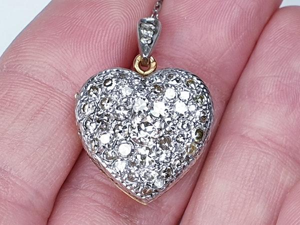 Antique diamond heart locket pendant  DBGEMS - image 4